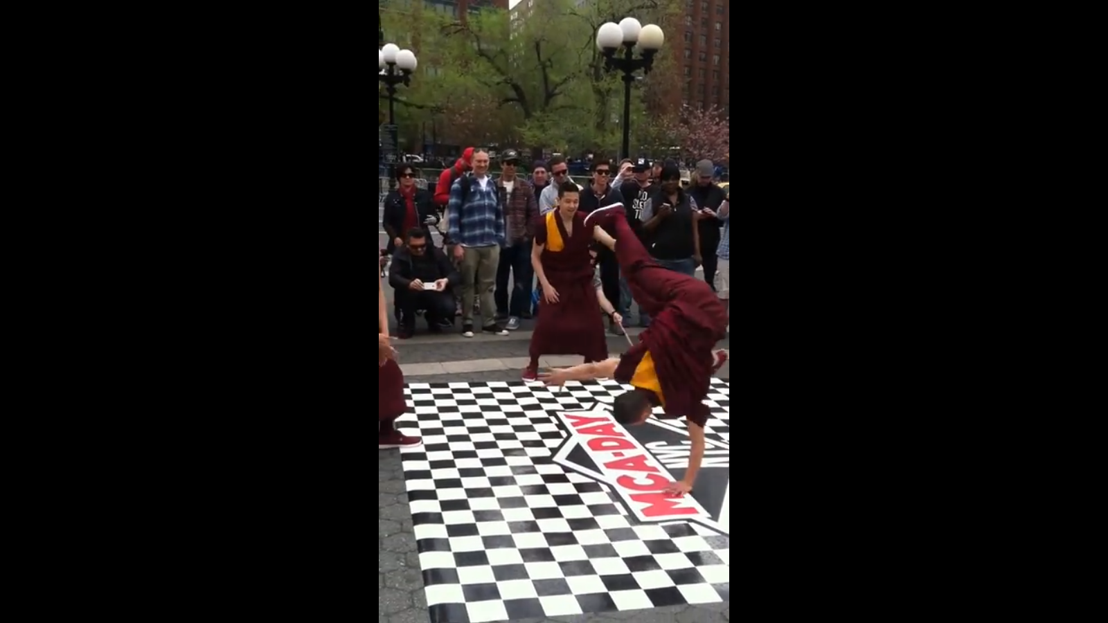 Breakdancing monks