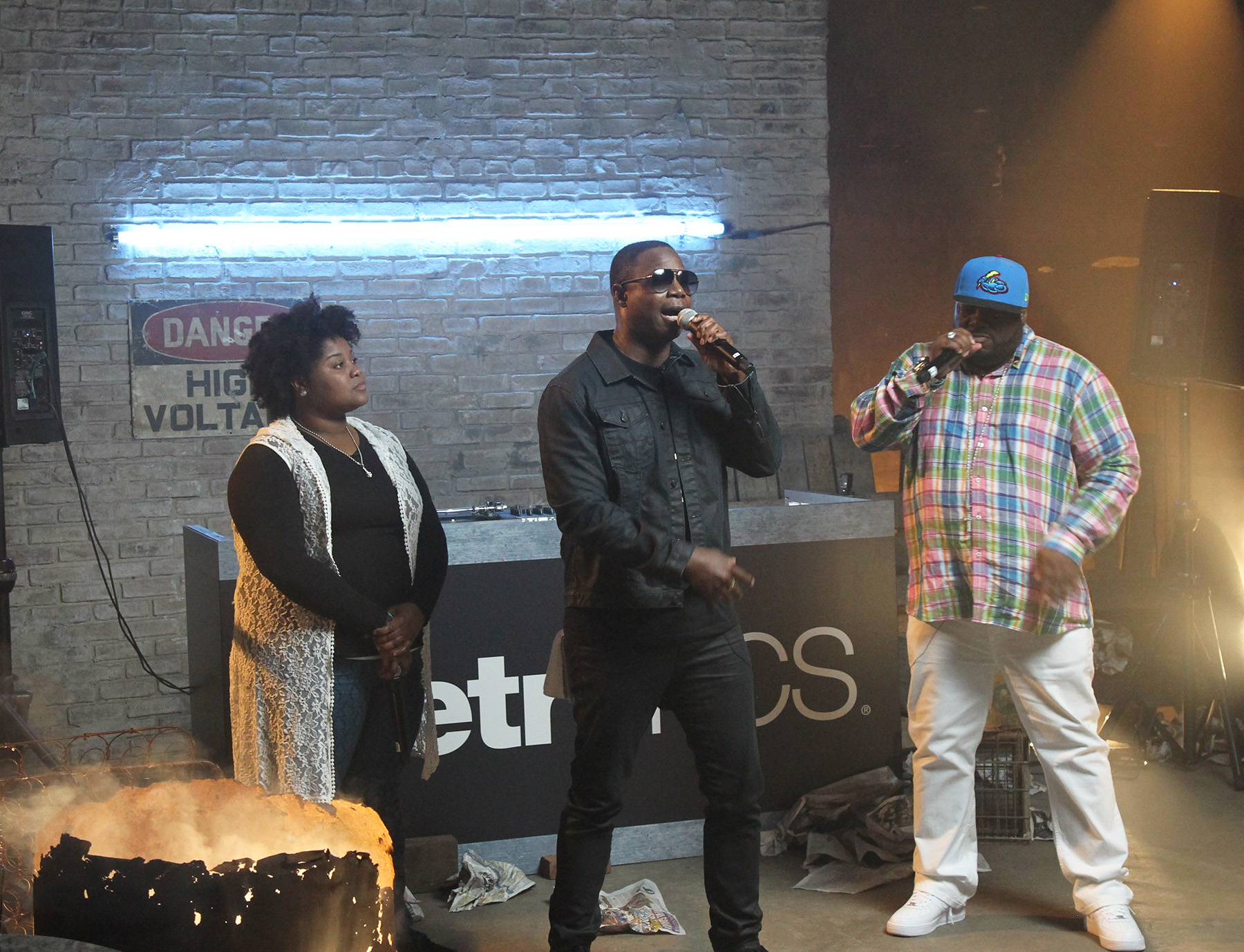 Nicole Paris, Doug E. Fresh, and Rahzel perform BET's Hip Hop Awards Cypher Shoots - Day 1 on August 25, 2015 in Brooklyn City. (Photo by Bennett Raglin/BET/Getty Images for BET)